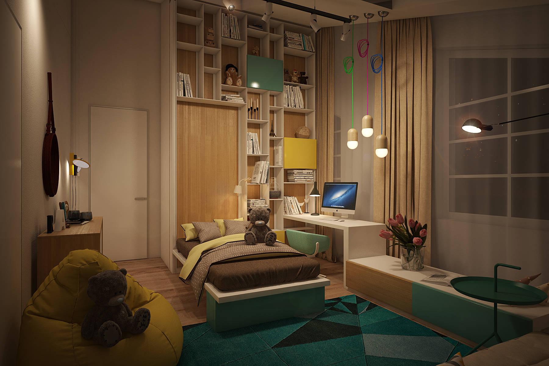 Дизайн по современному стилю комнаты в доме