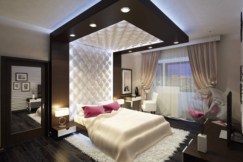 Дизайн потолка спальни 12 квм в современном стиле.