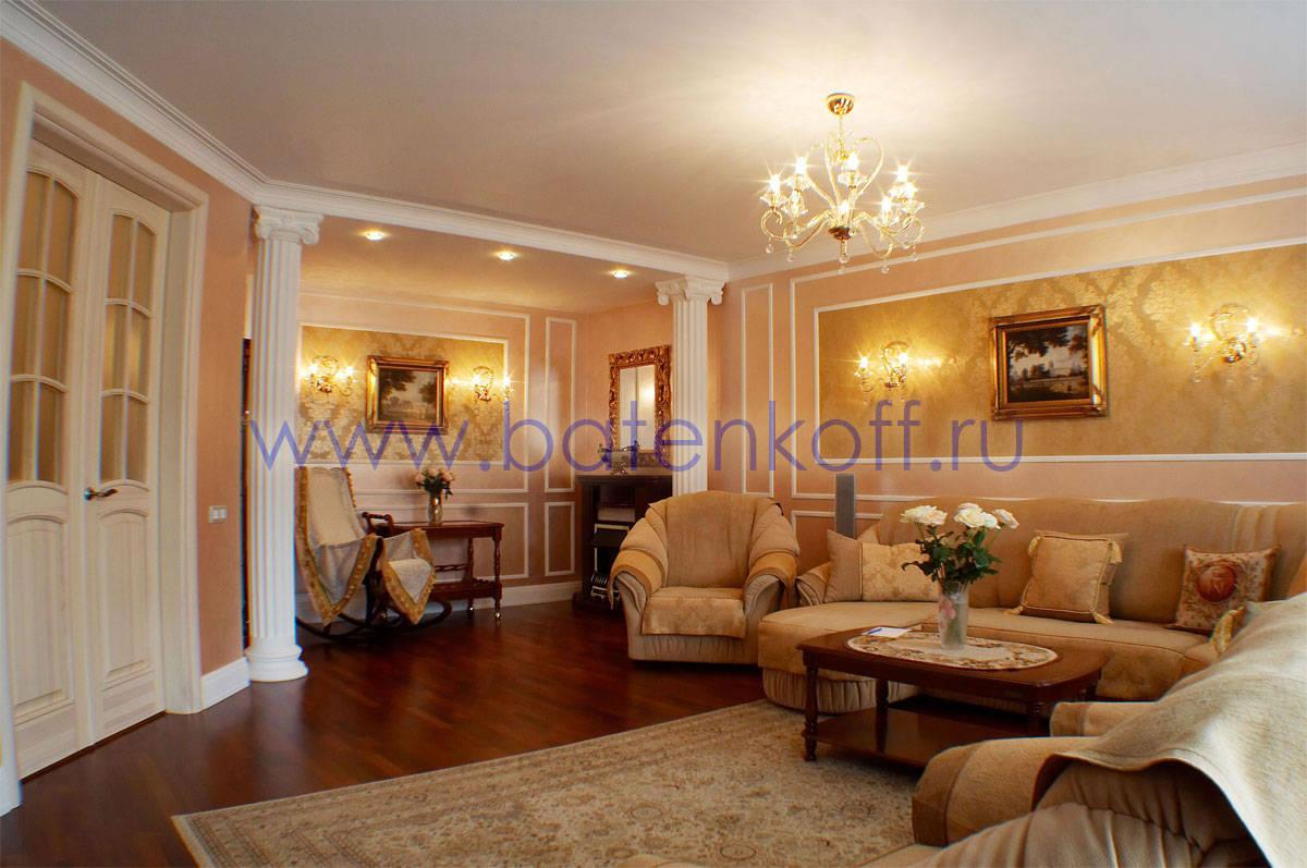 Интерьер зала в квартире в классическом стиле фото