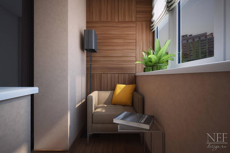 Дизайн интерьера кабинета на лоджии.