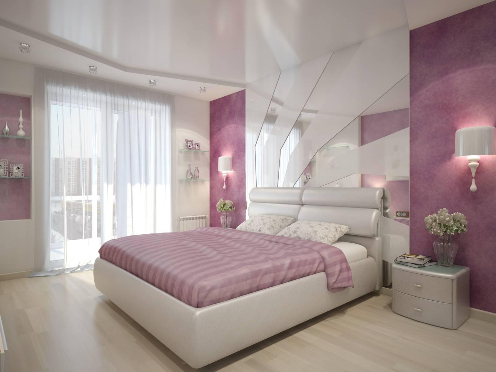 интерьер спальни в розовом цвете